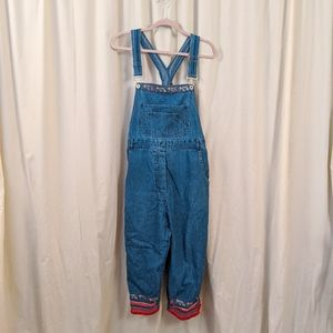 Cropped Embroidered Overalls